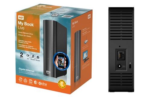 Produktverpackung und WD MyBook Live von hinten, Anschluß für Strom und Ethernet-Kabel