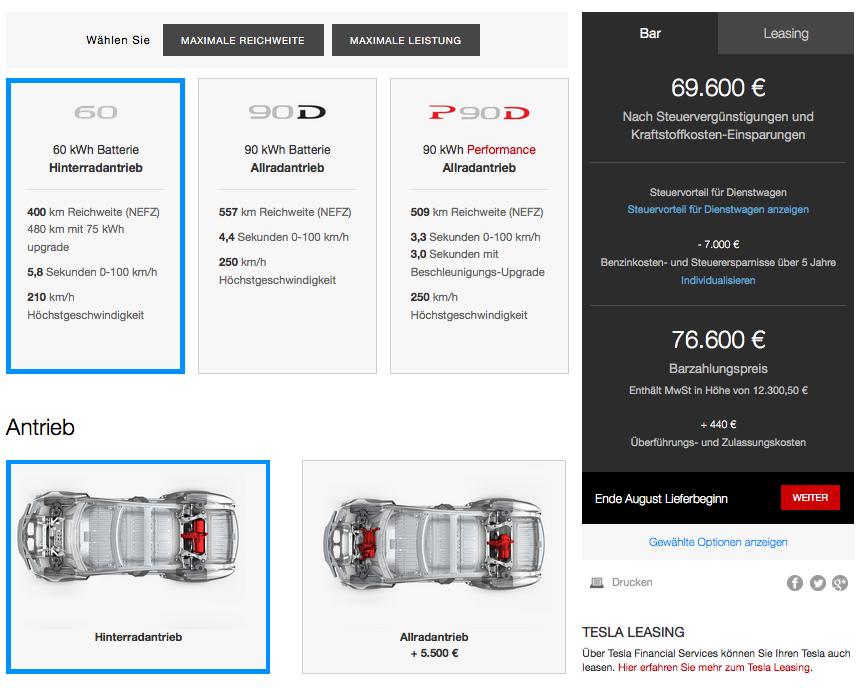 Tesla Model S Einstieg 60 kWh