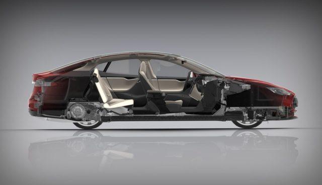 Tesla Model S Querschnitt Autoindustrie