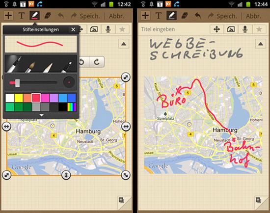 Mit dem Stylus zeichnen und Anmerkungen an Kartenausschnitte schreiben