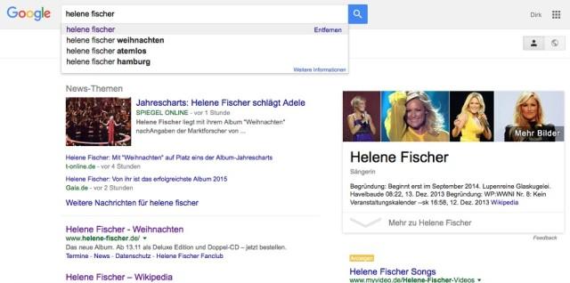 Suche bei Google 2015