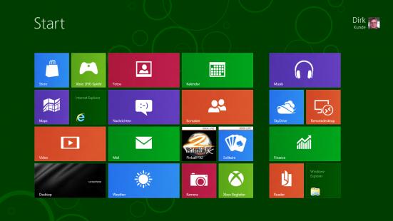 Windows 8 Startbildschirm mit bunten