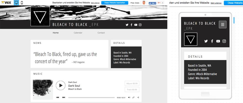 Responsive Webseite für Musiker von Wix